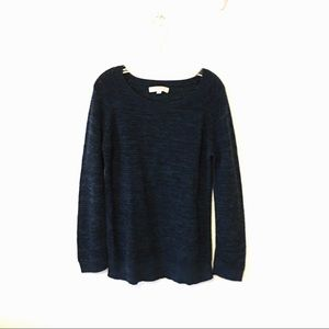 LOFT teal blue ribbed crew neck sweater size XL
